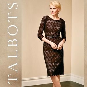TALBOTS NWT Thick Floral Lace Cream Brown Dress